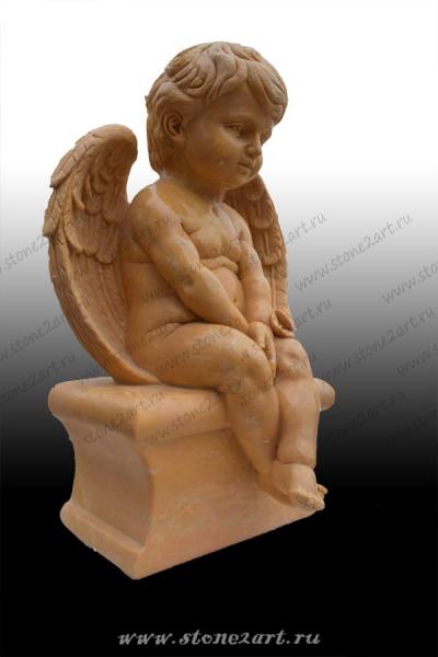 """Скульптура """"Ангелочек на камне"""""""