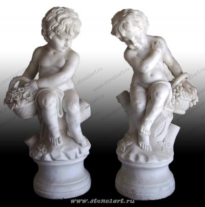 "Комплект скульптур ""Ангелочки с корзинками"""
