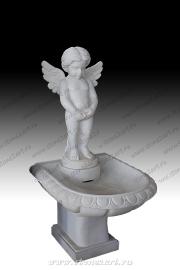 """Фонтан малый из мрамора """"Писающий ангелочек"""""""