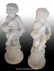 """Комплект скульптур """"Два ангелочка с фруктами"""""""
